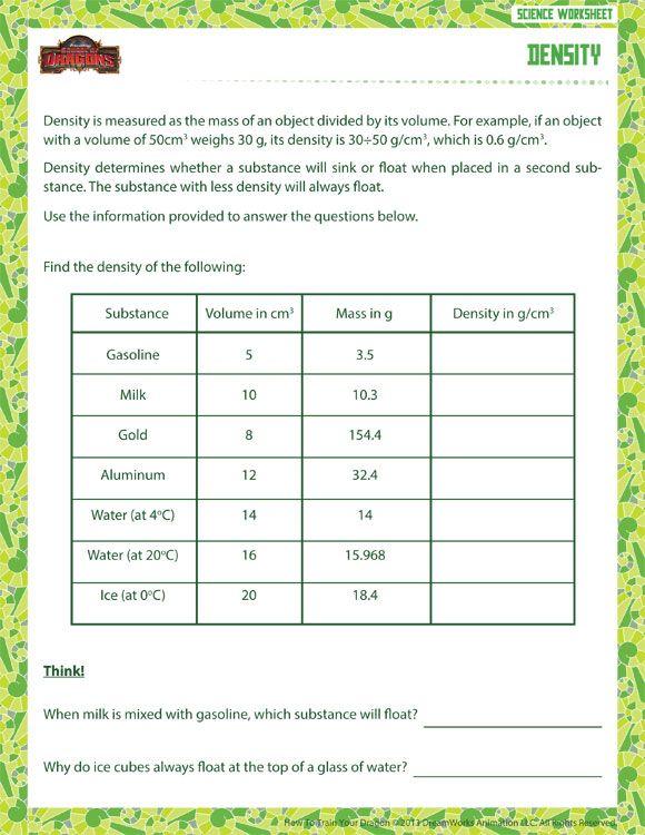 Density Free Science Worksheets Science worksheets