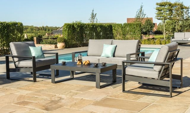 Kissimmee 2 Seat Sofa Set In Black Aluminium All Garden