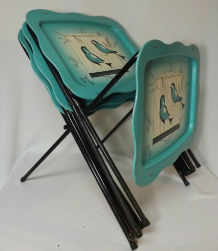 Set 4 Mid Century Metal Folding TV Tray Tables Aqua Birds in Cage | eBay