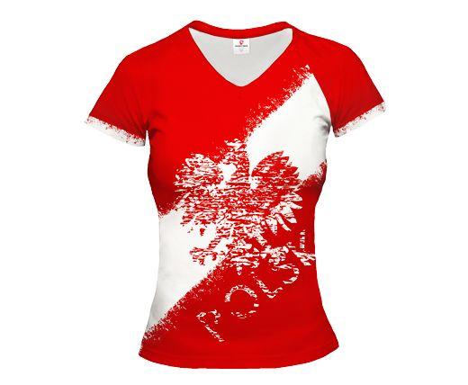 POLSKA STREET Polen rotes Frauen Trikot mit kurzen Ärmeln EAGLE & STRIPE