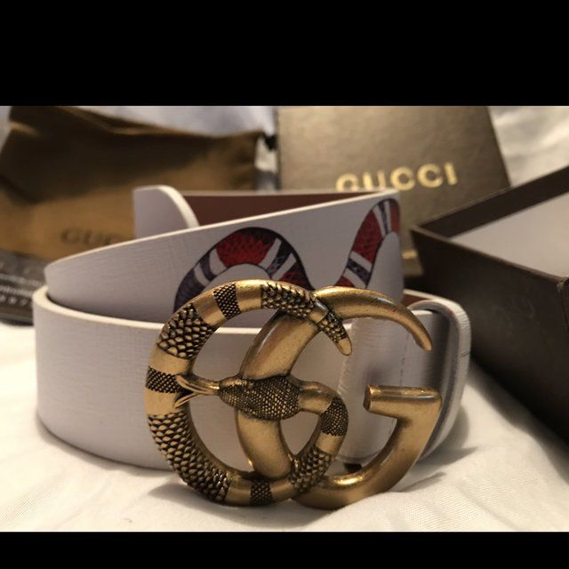61abe09c1d4 White Gucci Belt 1-3 priority shipping - Depop
