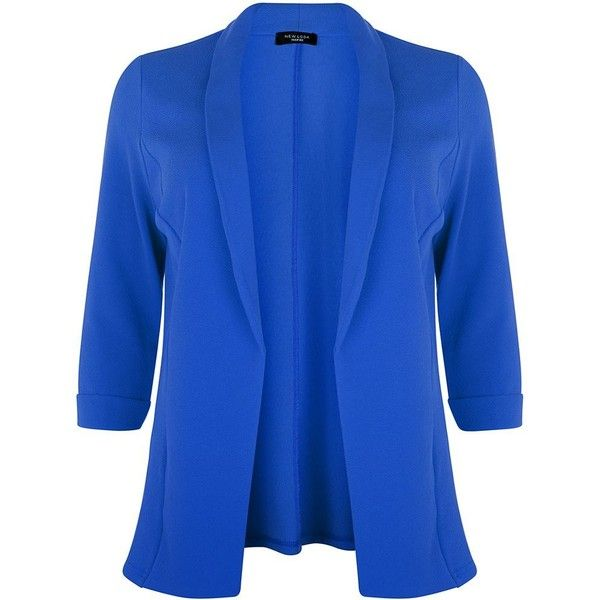 Plus Size Blue 3/4 Sleeve Blazer (£11) ❤ liked on Polyvore featuring outerwear, jackets, blazers, plus, plus size jackets, open front blazer, plus size blazer jackets, blazer jacket and three quarter sleeve blazer