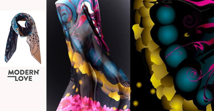 Modern Love luxury printed silk scarves and accessories