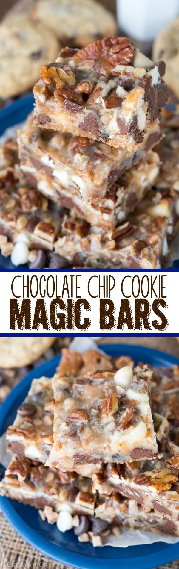 This EASY Chocolate Chip Cookie Magic Bars recipe comes together in just minutes!
