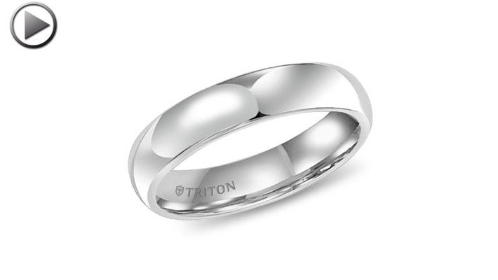 5mm Domed Comfort-Fit Triton White Tungsten Ring