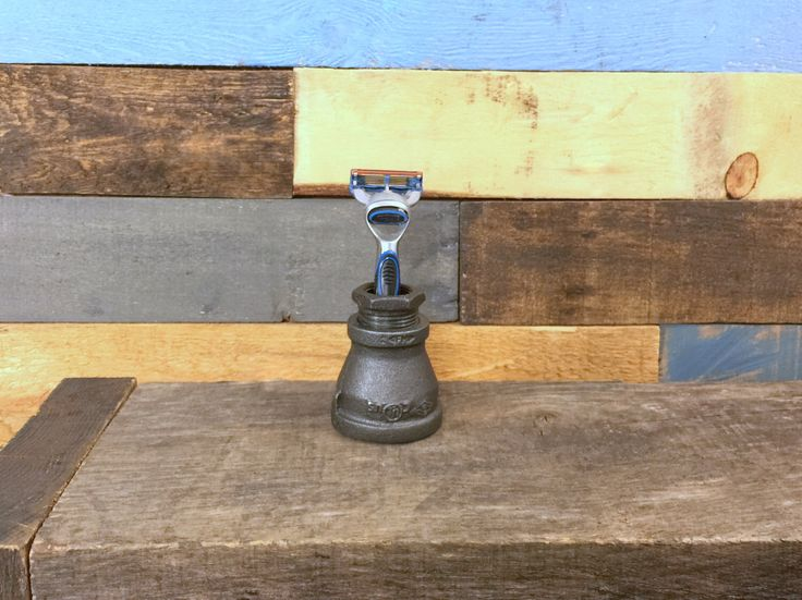 Industrial Razor Holder, Shaving Stand, Shaving Rack, Bathroom Storage, Razor Stand, Industrial Decor, Bathroom Organizer, Groomsmen Gift by TheCleverRaven on Etsy https://www.etsy.com/listing/273811420/industrial-razor-holder-shaving-stand