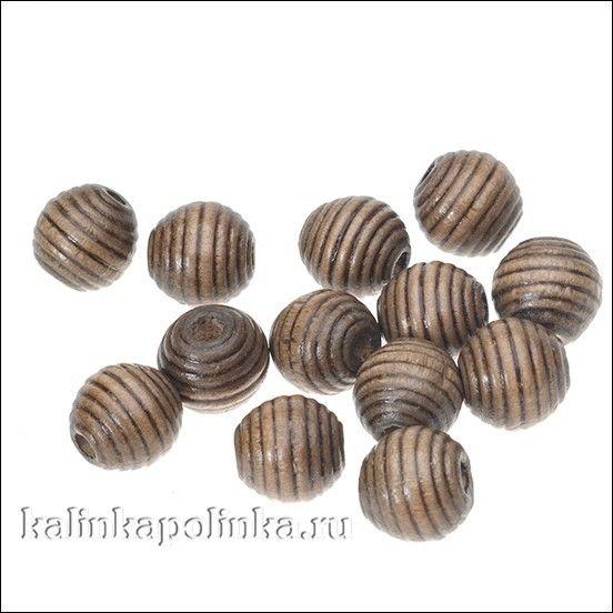 Бусины деревянные, ребристые, неокрашенные, лакированные, цвет коричневый, размер 12х12мм, отв. 3мм, цена 10г. около 19шт.