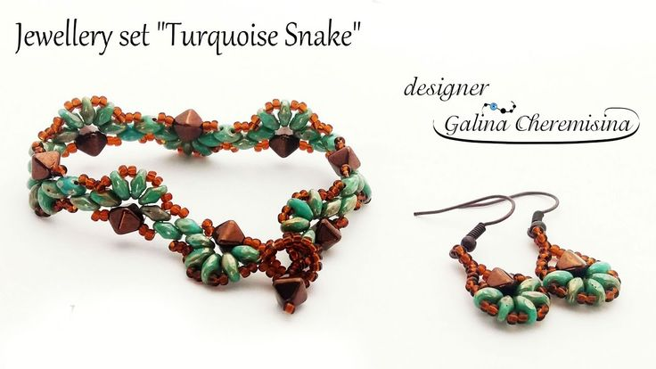 Turquoise Snake Bracelet with SuperDuo beads [Video Tutorial]Scarabeads GalinaCheremisina