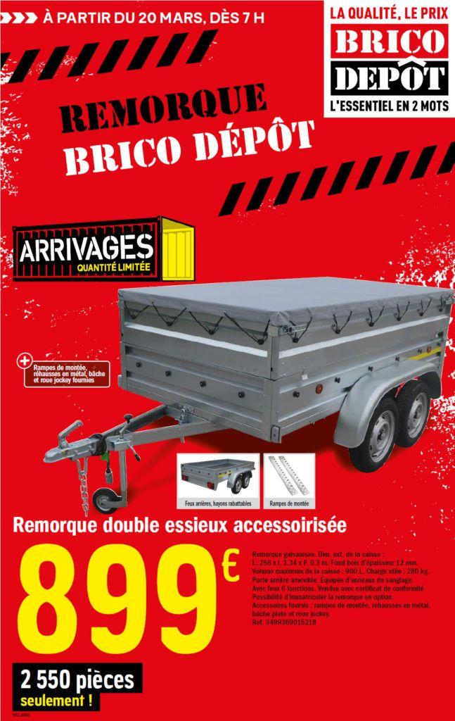 La Remorque Brico Depot 2020 Catalogues Arrivages En 2020 Remorque Remorque Double Essieux Roue Jockey
