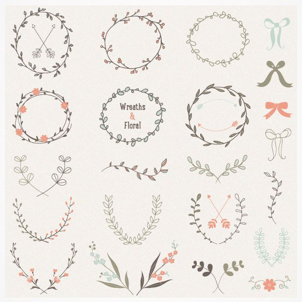 Hand drawn laurel and wreath vectors - perfect for wedding invitations, business cards, and pretty much anything.