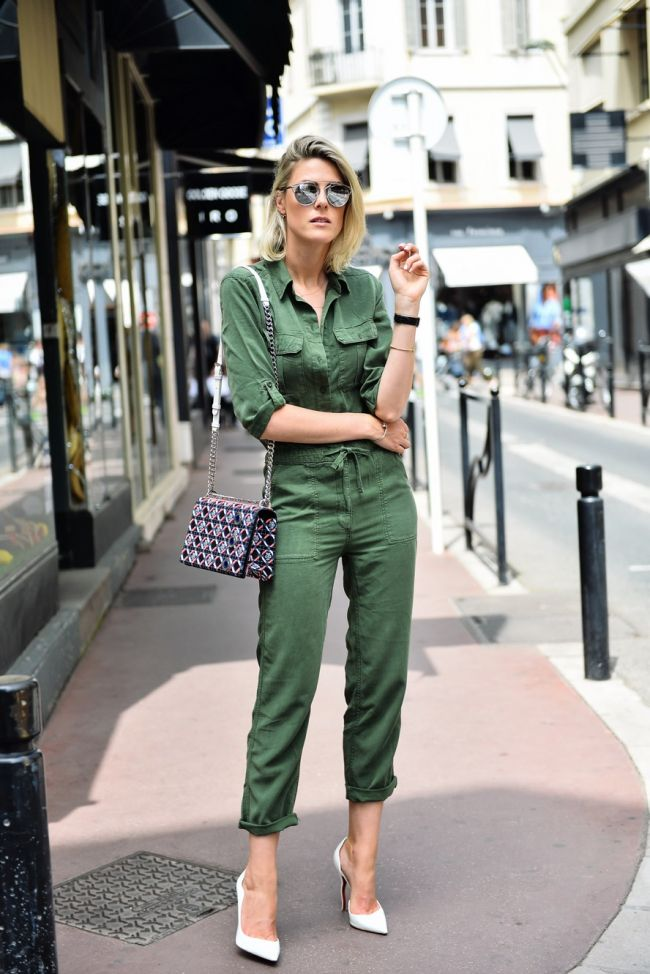 classic white pumps with military jumpsuit