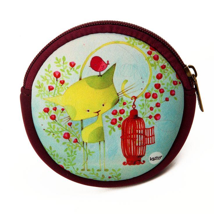Porte-Monnaie Rond Oiseau en Cavale KETTO Round Coin Purse Bird on the Run // Porte-monnaie à fermeture éclair. // Coin purse with zipper closure. // #PorteMonnaieRond #RoundCoinPurse #Ketto