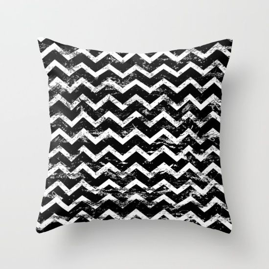 Black and White Distressed Chevron pillow by textart