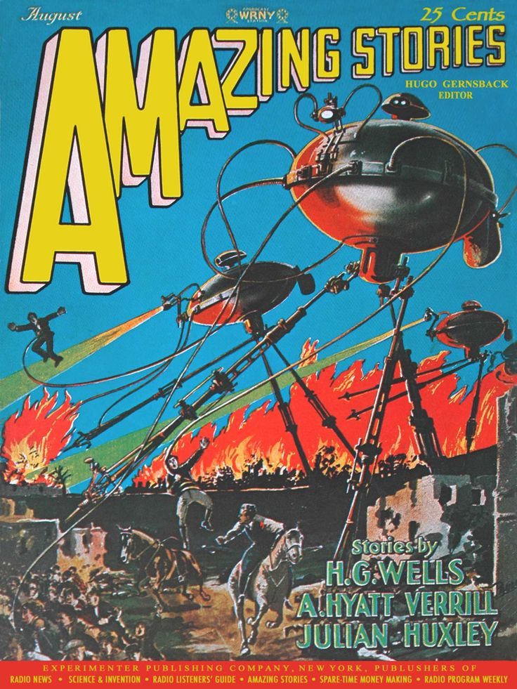 "The August 1927 cover of Amazing Stories depicts H. G. Wells' ""War of the Worlds"". Hugo Gernsback was the Publisher and Editor of Amazing Stories and Frank R. Paul was the illustrator. Paul began working for Gernsback in 1914 and his Amazing Stories covers established the style for Science Fiction magazines."