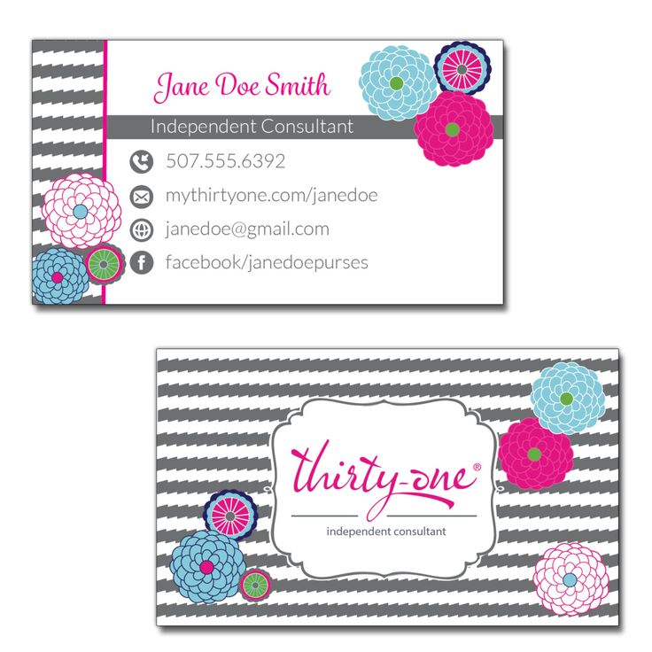 New to JNBStrategies on Etsy: Thirty One Consultant Business Cards Bubble Bloom and Grey Wave Inspired Design (25.00 USD)
