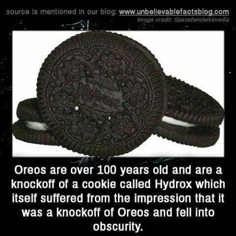 Oreos are over 100 years old and are a knockoff of a cookie called hydrox which itself suffered from the impression that it was the knockoff of Oreos and fell into obscurity.