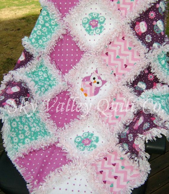 Baby girl Rag quilt  Purple pink and teal by skyvalleyquiltco