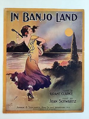 In Banjo Land 1912 Pretty Girl Large Format Sheet Music Pfeiffer