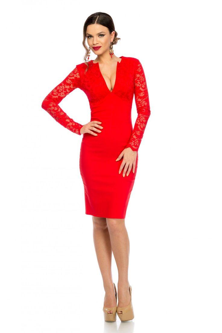 Rochie Arianna Rosie 199 lei Rochie eleganta accesorizata cu dantela