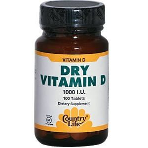 Country Life - Vitamin D Dry, 1000, 100 tablets by Country Life. $3.59. Does Not Contain: Corn, wheat, soy, gluten, milk, salt, sugar, starch, preservatives or artificial color.. Serving Size - 1 tablet. Country Life Vitamin D 1,000 IU Tablets -- 100 ct.Country Life Dry Vitamin D is a hypoallergenic supplement.