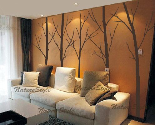 "Wall Decal tree wall decal nursery wall decal baby by NatureStyle, $87.00.My son has a ""Forest"" theme in his room. But as we have a new home, we aren't allowed to paint for a year. I love these decals to add color, a design element and wall feature to his space. Something like this would be perfect for renters as well. Most landlords don't allow painting walls in rental units."