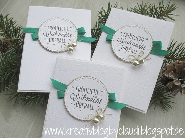 Kreativ Blog by Claudi:  Merry Christmas everywhere: Fancy Frost Specialty  DSP,   Stitched Framelits, sentiment is from Tin of Tags, Mini Jingle Bells
