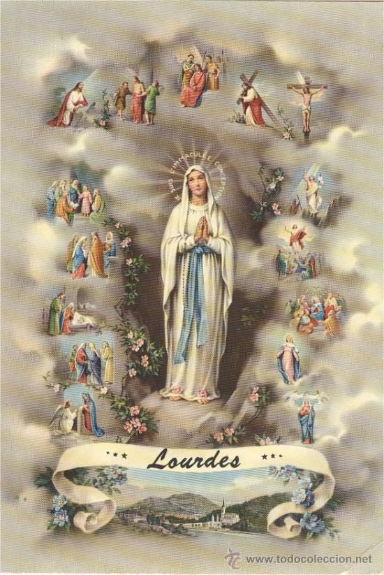 Virgen de Lourdes (postal sin circular) 1965 - 11 de Febrero❤️