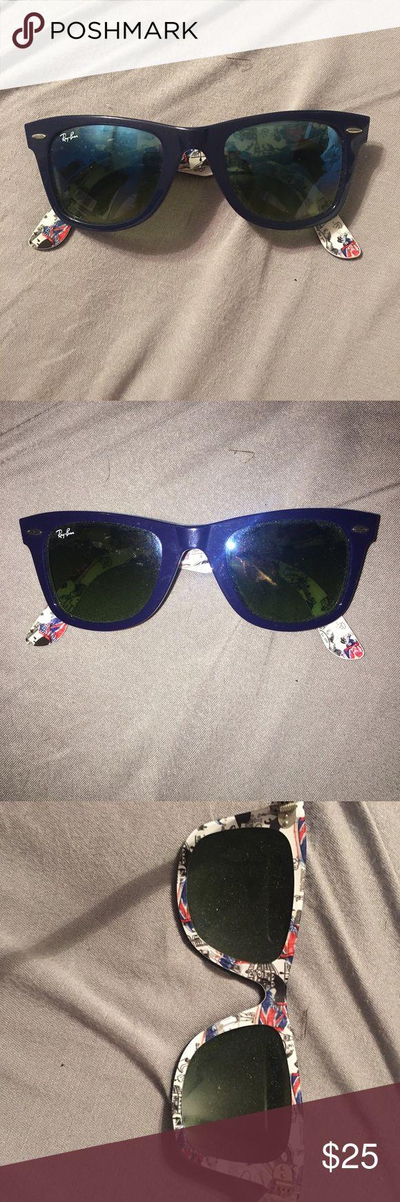 Ray Ban Wayfarer Navy blue ray ban wayfarers with a British pattern on the inside interior Ray-Ban Accessories Sunglasses