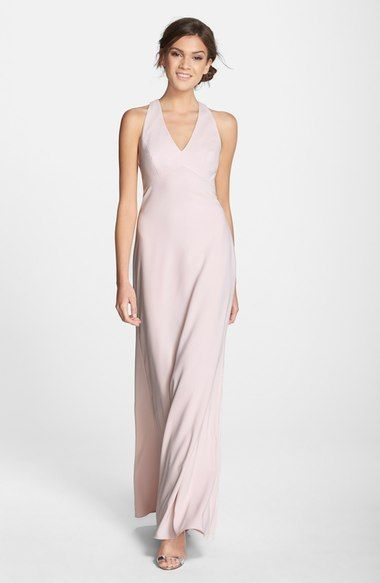 Gray blue choice.....Dessy Collection Back Cutout Crepe Gown available at #Nordstrom.....gray blue choice
