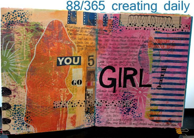 """Project """"365 - creating daily"""" day 88:  art journal page made with gelli prints Anke Humpert 3/2014  #365creatingdaily #gelliarts"""