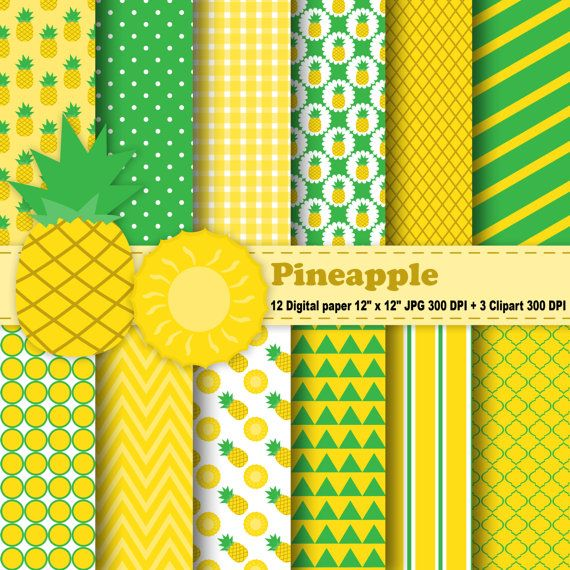 Pineapple Digital Paper, Pineapple Clipart, Fruits, Tropical, Polka Dot, Chevron, Stripe, Yellow, Green,  Pattern, Clipart, Commercial Use.