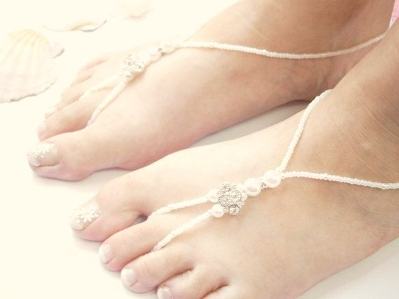 White Barefoot Sandals  Beach Wedding  Beaded by GlamorousSparkle, €15.00