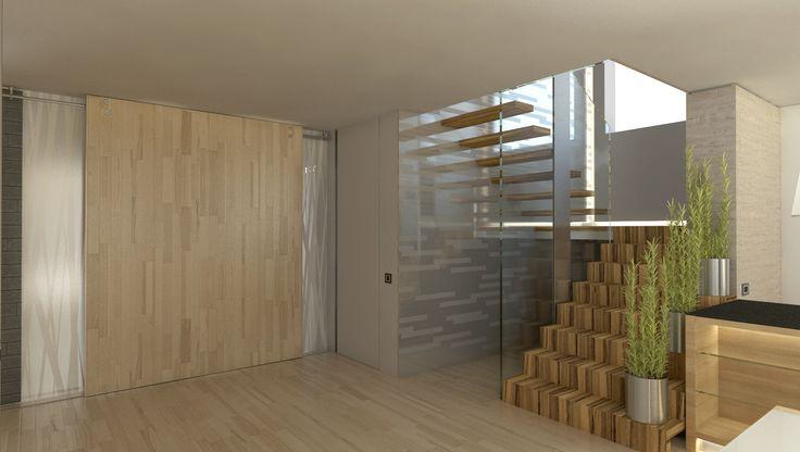 chodba se schodištěm do prvního poschodí rodinného domu