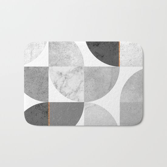 Marble Gray Copper Black and white circles Bath Mat by xiari on society6. copper, black, gold, circles, pattern, geometry, concrete, geometric, minimalist, seamless, scandinavian, nordic, mid century, wall art, home decor, scandi design, tapestries, duvet cover, interior design, bedroom, living room, dorm,society6
