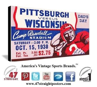 1938 Pitt vs. Wisconsin Ticket Art on Canvas. Wisconsin Badgers man cave ideas, football man cave, vintage football art, Wisconsin Father's Day Gifts, Best gifts on Pinterest. Row One Brand. #Wisconsin #Row1 Best Father's Day Gifts 2015.