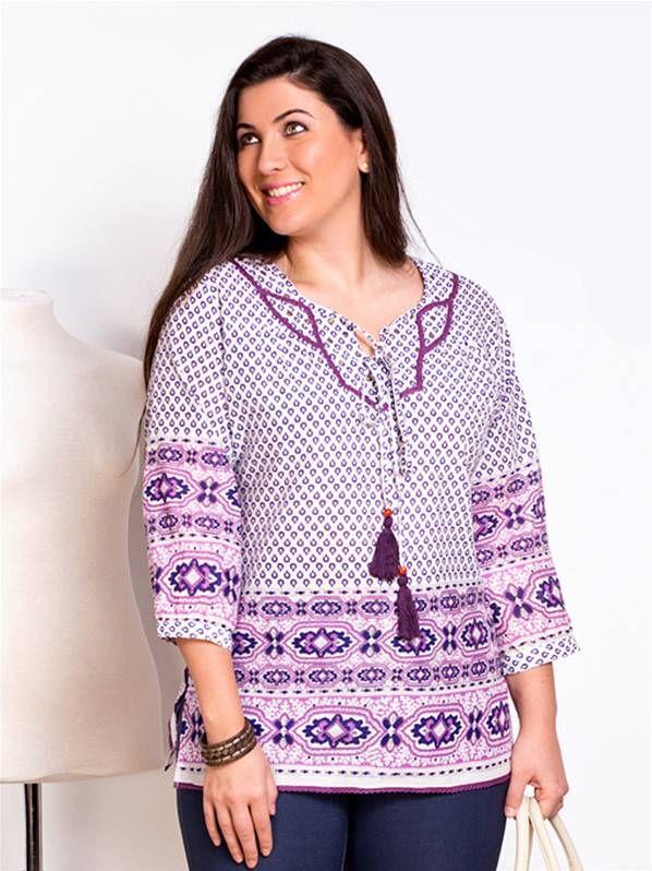 Blusa estampada algodon carisal en tallas grandes