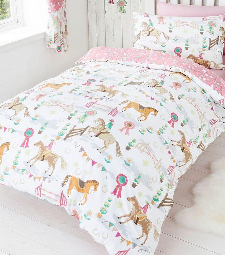 Horse Bedding for Girls Twin Full Duvet Cover/ Comforter Cover Set Pink Reversible Horse Show