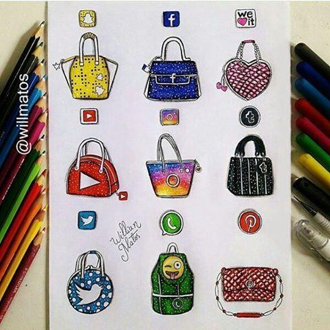 Social Media Handbags By: @willmatos _ Follow @universeofartists for more