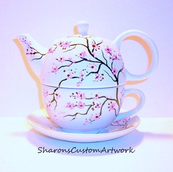 Hey, I found this really awesome Etsy listing at https://www.etsy.com/listing/180184845/cherry-blossoms-tea-for-one-hand-painted