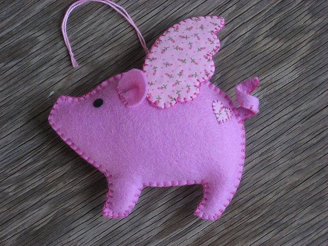 Lavender Felt Flying Pig