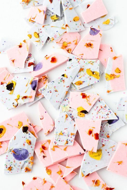 Color Blocked Chocolate Bark with Edible Flower Sprinkles