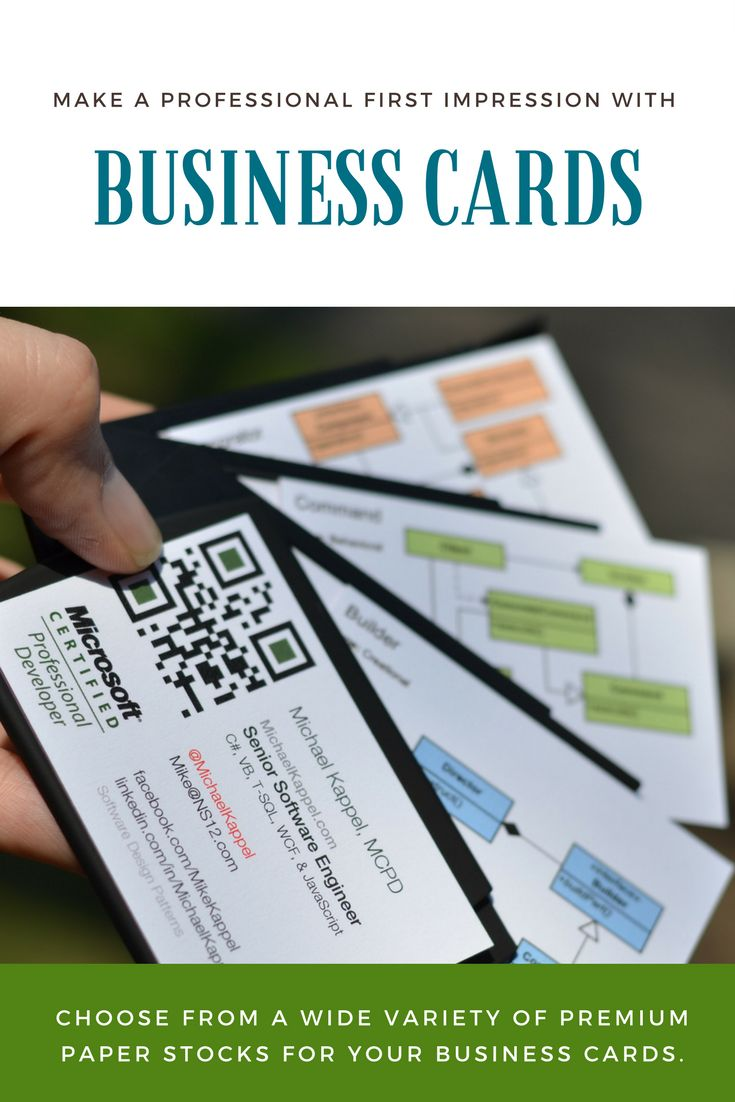 Make a professional first impression. Choose from a wide variety of premium paper stocks for your business cards. A professionally printed, high-quality business card leaves a lasting impression on your small business customers and are one of the best marketing tools you have.