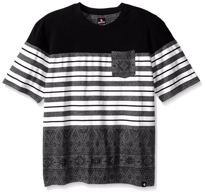 Southpole Men's Big-Tall Cut Sewn Tee with Aztec Pattern and Contrast Stripes