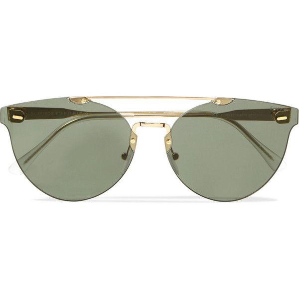 Retrosuperfuture Cat-eye gold-tone sunglasses ($295) ❤ liked on Polyvore featuring accessories, eyewear, sunglasses, rimless glasses, cat eye glasses, cat-eye glasses, gold colored glasses and retrosuperfuture sunglasses