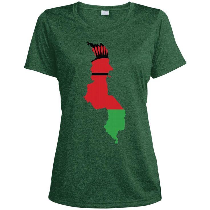 Malawi flag LST360 Sport-Tek Ladies' Heather Dri-Fit Moisture-Wicking T-Shirt