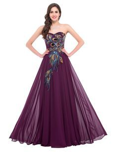 Strapless Peacock Sleeveless Lace Up Back Elegant Formal Print Evening Dress