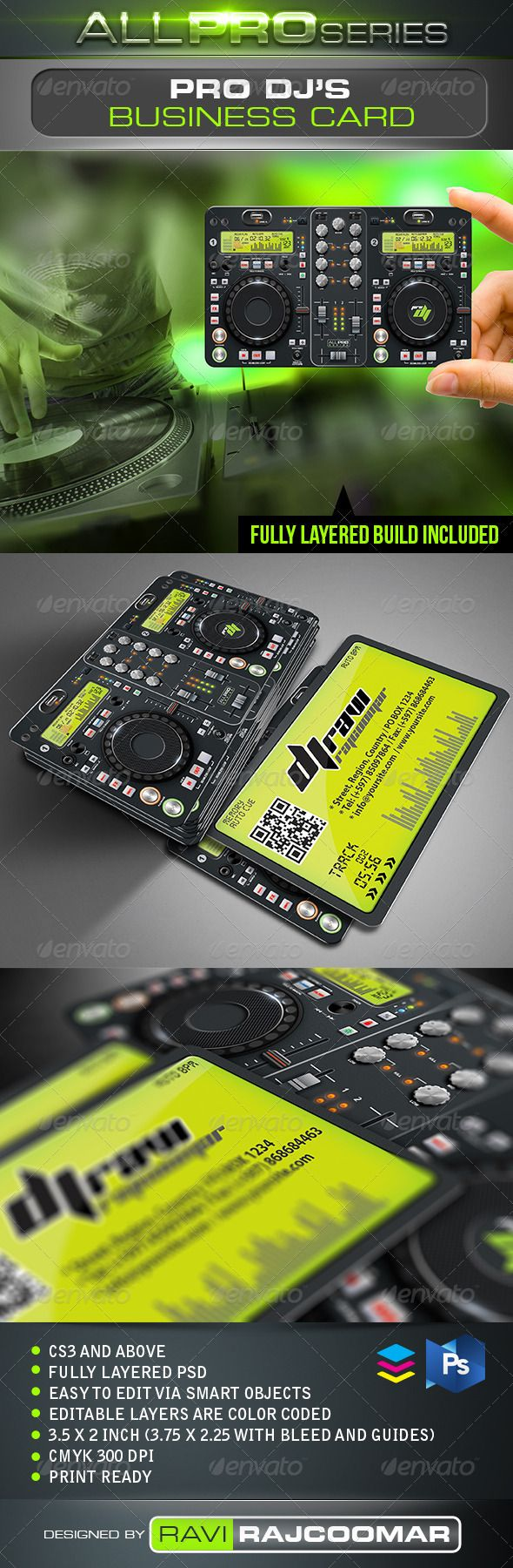Pro DJ Business Card  #GraphicRiver          CS3 and above  Fully layered  CMYK mode 300 DPI   Easy to edit via smart objects  Editable layers are color coded  3.75×2.25 inch dimension including bleed  Print ready  Help guide Included    Fonts info included in the instruction file and they can be obtained for free.   Very easy to customize.   Thanks for your support and please don't forget to rate.     Created: 19June12 GraphicsFilesIncluded: PhotoshopPSD Layered: Yes…