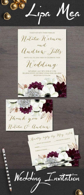 Printable Wedding Invitation, Floral Wedding Invitation, Anemone & Succulent Wedding Invitation, Gold Burgundy Wedding Invite, Boho Wedding Ideas. Coordinating signs available at: lipamea.etsy.com