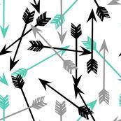 arrows fabric //black grey and aqua baby nursery fabric cute arrows design by andrea_lauren
