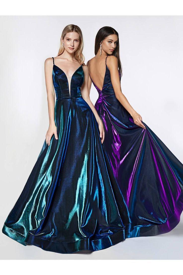 Long Metallic Dress Formal Evening Gown  Vestidos formales largos